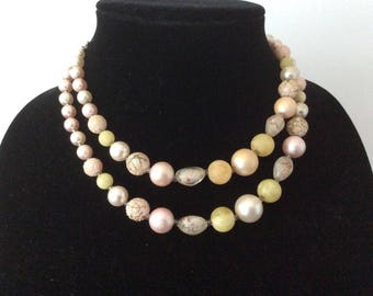 Pale Pink Bead Necklace