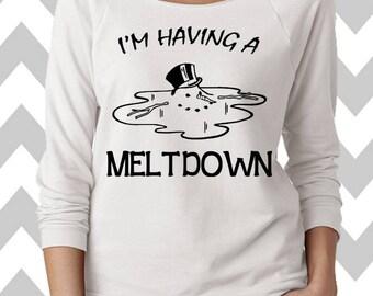 I'm Having A Meltdown Funny Christmas Sweatshirt  Ugly Christmas Sweater Oversized 3/4 Sleeve Sweatshirt Funny Christmas Shirt Ugly Sweater