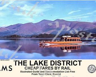 Vintage Style Railway Poster Lake District Derwent Water Launch A3/A2 Print
