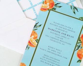 Orange and Aqua Citrus Invitations and White or Optional Lined Envelopes, Set of 10