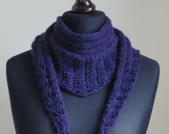 Rowan Lima Hand Knitted Scarf available in Blue or Purple. Hand Knitted Rowan Lima Shawlette.