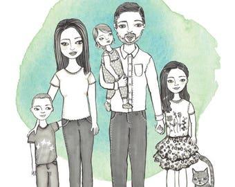 Custom illustrated family portrait.
