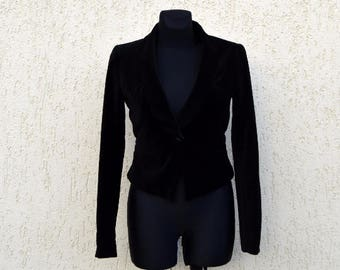 Black Velvet Jacket Evening Blazer Fitted Jacket Vintage Women Collectable Tailcoat Steampunk Blazer Size Small