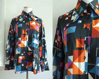 50s geometric blouse crepe button down shirt abstract print blouse 1950s secretary blouse mad men colorful top womens small/medium