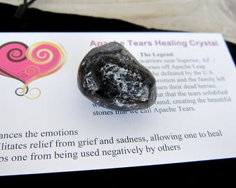 Natural Apache Tears Tumbled Stone Set Healing Crystal Info Card with Drawstring Pouch /Feng Shui