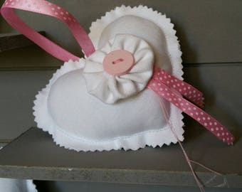 Shabby Chic White and pink fabric heart