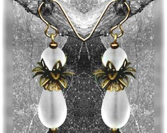 1 kit earrings Crystal, sea glass Palm tree, 45 mm