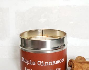 Scented soy candle, Maple Cinnamon, vegan candle, soy wax candle, strong scented candle, autumn candle, soy wax candle, gift for her