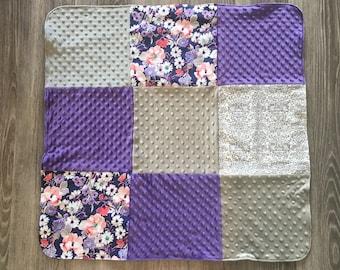 Baby Blanket- Purple Floral/Minky