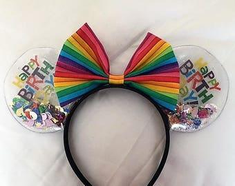 Clear/Vinyl Happy Birthday Minnie Mouse Ears
