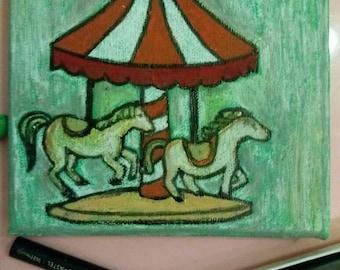 Little white horses go around