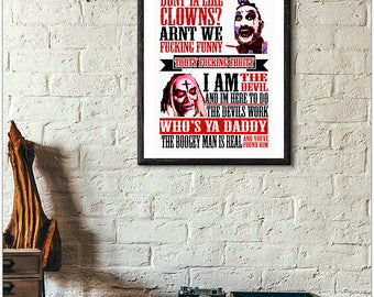 captain spaulding // House of a thousand corpse's // devils rejects // horror print // typeography // rob zombie // nerd // geek