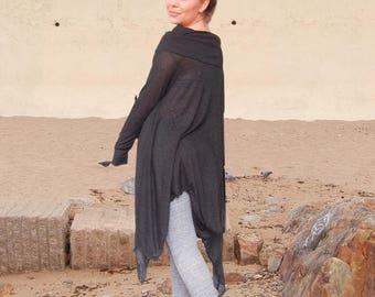 Baggy Oversized Fine Knit Loose Tunic, Maternity Plus Size Black Top, Maxi Extravagant Black Tunic, Asymmetric Smock Top Tunic