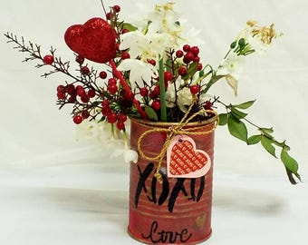 "Tin can vase ""XOXO"""