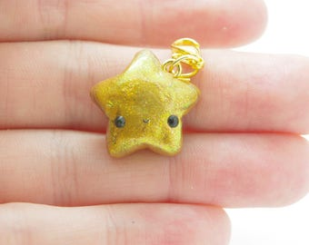 Polymer clay, handmade,kawaii, gold, shimmery, fashion charm