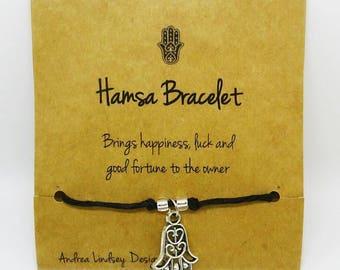 Hamsa Charm Tie-On Black Hemp Cord Bracelet