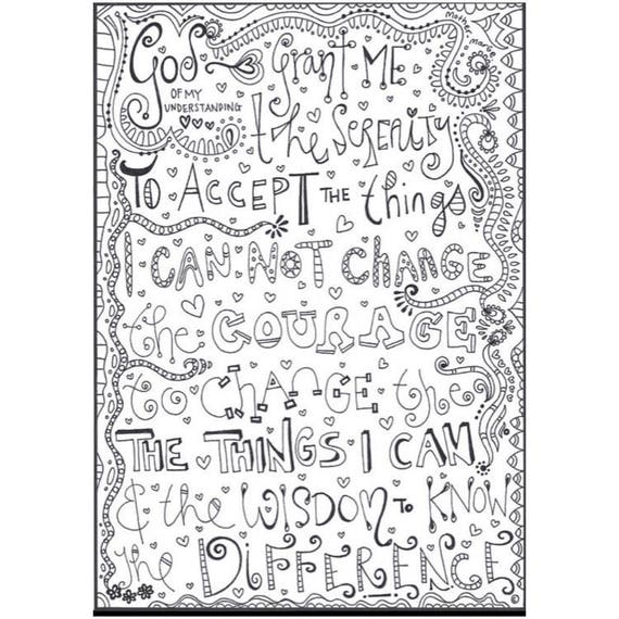 Serenity Prayer Coloring Page Download Adult Printable Recovery Colouring