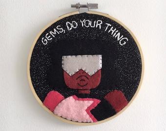 Garnet Embroidery Hoop Wall Hanging