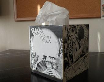 Manga Book Decoupage Wooden Storage tissue Box- Wooden Box- Comics