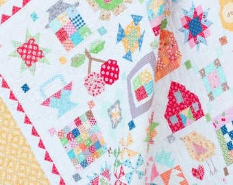 NEW Farm Girl Vintage Sampler Quilt Kit featuring Bee Basics by Lori Holt