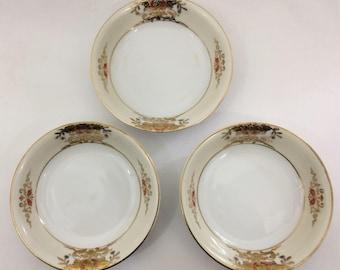 Set of 3 Antique Noritake Hand Painted China Berry Bowls Morimura # 42200 1918 Retired