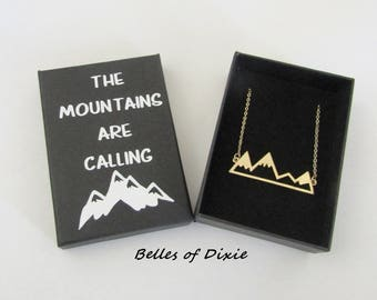 Mountain Choker ~ Gold Mountain Necklace ~ Mountain Jewelry ~ The Mountains are Calling Outdoor Gift Wanderlust Mountaintops Skier Necklace