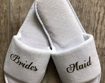bridesmaid slippers, maid of honour, bridal party slippers, gift, spa slippers, mother of the bride slippers, will you be my bridesmaid