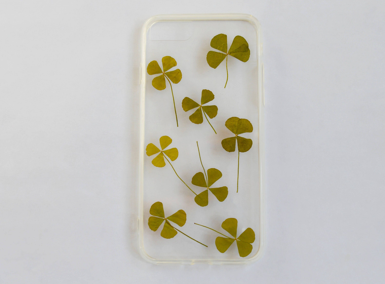 lucky four leaf clover pressed flower case lucky charm st
