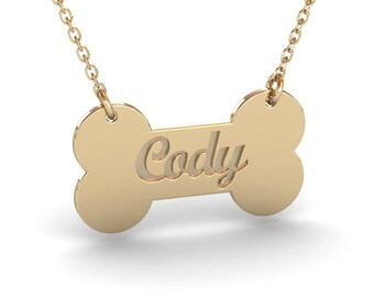 Personalized Dog Name Necklace, Gold Dog Bone Necklace, Dog Name Jewelry, Dog Jewelry, Dog Bone Jewelry, Pet Memorial Necklace