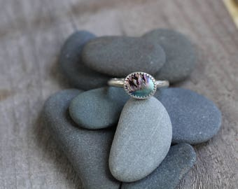 Abalone Stacker Ring - Size 8
