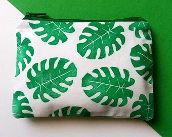 Hand Printed Tropical Leaves Coin Purse