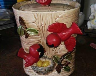 Red Cardinal Cook Jar.