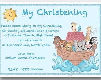 Printed Personalised Christening Baptism Invitations baby boy  x10 with envelopes