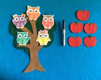 2 Felt stories 5 owls//apples tree set//felt board  set numbers//flannel stories math set//preschool numbers//educational toy