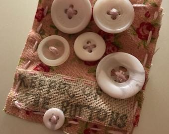 Handmade Button & Fabric Brooch