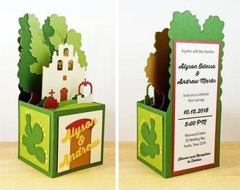 Pop Up Spanish Mission Wedding Invitation, Pop Up Church Wedding Invitation, Custom 3D Pop Up Box Card, CardBloom