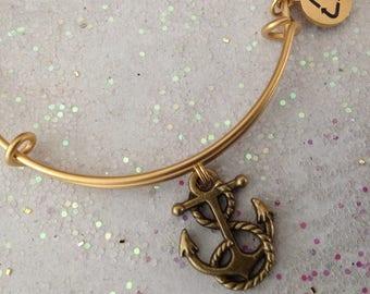Gold ANCHOR bracelet- Gold Anchor Charm Bracelet - Gold Expandable Bangle Bracelet - Gold-plated Stainless - Antique Gold