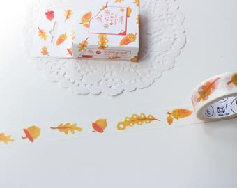 Autumn Leaves Washi Tape, Maple Leaf Acorn Washi Tape, Orange Washi Tape, Halloween Washi Tape (NT-188)