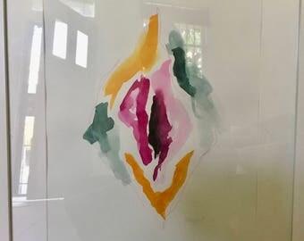 Framed Vulva in Watercolour