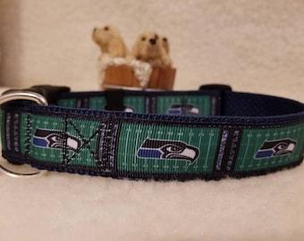 Sea Hawks Handmade Dog Collar 1 Inch Wide
