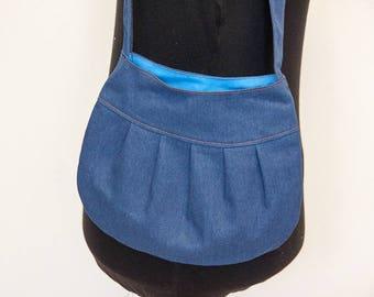 "Pleated purse ""Daisy"" - Ready to ship - denim jeans tote bag shoulderbag handbag"
