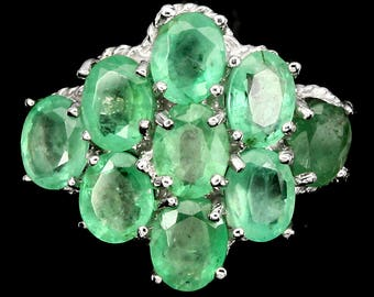 Natural Oval Cut 5x4 Mm Green Emerald 925 Sterling Silver Ring