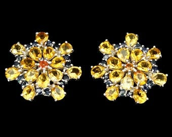 Citrine and Sapphire 925 Sterling Silver Earrings