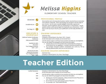 Teacher Resume Template - Teacher Resume, Word, Teacher Resume Cover Letter, Teaching Resume - RESUME TEMPLATE iNSTANT dOWNLOAD