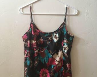 1990's Dorothee' Bis Silk Floral Print Tank Top (M) • Vintage Silk Camisole Tank Top