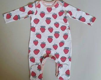 Strawberry Print Organic Cotton Baby Romper ,  Sleepsuit