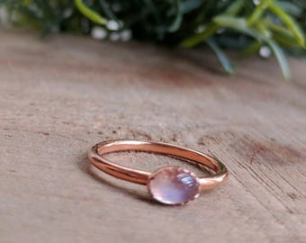 Rainbow Moonstone Ring, Moonstone and Copper Ring, Bezel Set Moonstone Ring, Dainty Rainbow Moonstone Ring, Copper Moonstone Ring, Moonstone