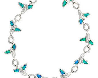 Blue Opal Sterling Silver Whale Tail Charm Bracelet