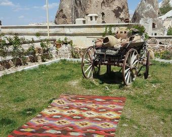 Anatolian Handmade Kilim 100% Wool 61'' x 93'' Handwoven Decorative Kilim Rug