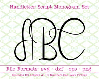 HANDWRITTEN SCRIPT Monogram Svg, Fancy Letters Svg, Dxf, Eps, Png, Wedding Font Letters & Numbers, Cricut Files, Silhouette Files,Cut Files